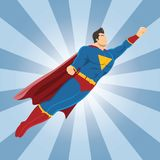 Flying superhero with clenched fist. Superhero vector illustration. EPS10 Format Stock Image