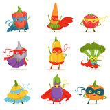 Superhero Vegetables In Masks And Capes Set Of Cute Childish Cartoon Humanized Characters In Costumes. Healthy Fresh Food With Superpowers Vector Illustrations stock illustration