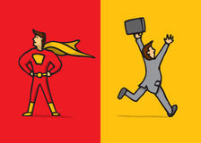 Superhero versus coward Stock Photo