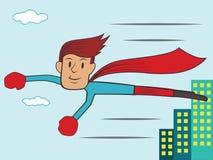 Superhero Vliegende Trog het Stad de Bouwbeeldverhaal Royalty-vrije Stock Fotografie