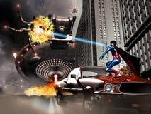 Superhero vs aliens. A superhero defends the world against an alien invasion Royalty Free Stock Photos