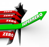 Superhero Vs Zero Top Performer Defender Protector Role Model Ar. Superhero word on a green arrow rising above opposite Zero arrows falling to illustrate one who Stock Photography