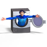Superhero on a washing machine Stock Images