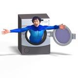 Superhero on a washing machine Stock Images