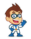 Superhero waving. Vector clipart picture of a superhero cartoon character waving Royalty Free Stock Photo