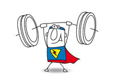 Superhero weight lifter. This superhero is very strong. He is a weight lifter Stock Photography