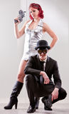 Superhero weird couple with man and woman Royalty Free Stock Photos