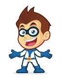 Superhero in welcoming gesture. Vector clipart picture of a superhero cartoon character in welcoming gesture Stock Photos