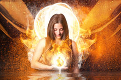 Superhero witch with fire Royalty Free Stock Photography