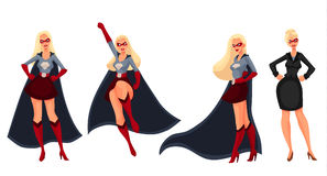 Superhero woman in cape and business suit Royalty Free Stock Photo
