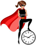 Superhero woman controlling time concept isolated Royalty Free Stock Photo
