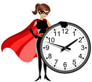 Superhero woman controlling time concept isolated vector illustration