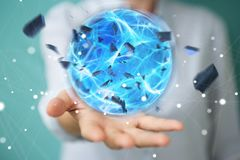 Superhero woman creating a power ball with her hand 3D rendering. Superhero woman creating an exploding blue power ball with her hand 3D rendering Royalty Free Stock Photo