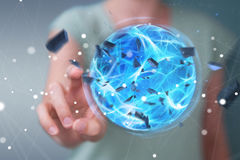 Superhero woman creating a power ball with her hand 3D rendering. Superhero woman creating an exploding blue power ball with her hand 3D rendering Royalty Free Stock Image