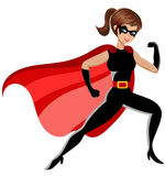 Superhero woman fighting isolated. On white Stock Images