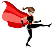 Superhero woman fighting kicking isolated. On white Stock Image