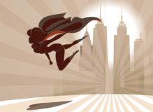 Superhero woman flies low over the earth on the city background Royalty Free Stock Image