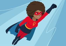 Superhero woman in flight. Attractive young African American woman wearing superhero costume with cape, flying through air in sup. Erhero pose, on sky background royalty free illustration