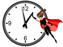 Superhero woman flying and stopping time isolated. On white Royalty Free Stock Photography