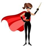 Superhero woman holding stick teaching isolated. On white Royalty Free Stock Photo