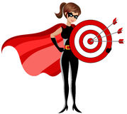 Superhero woman holding target arrows center isolated Royalty Free Stock Image