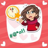 Superhero woman holding wall clock. vector illustration