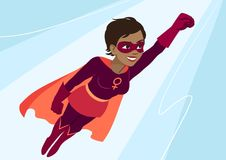 Free Superhero Woman In Flight. Attractive Young African American Woman Wearing Superhero Costume With Cape, Flying Through Air In Sup Stock Image - 112778111