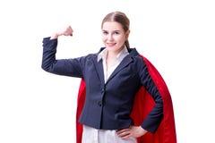 The superhero woman isolated on white background. Superhero woman isolated on white background royalty free stock photo