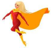 Superhero woman in red outfit flying. Cartoon vector illustration isolated on white background. Beautiful blond superhero woman flying. Cartoon vector Stock Image