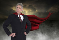 Superheroaffärsman, affär, försäljningar, marknadsföring royaltyfri bild