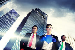 SuperheroaffärsmanCityscape Team Concept Arkivfoton