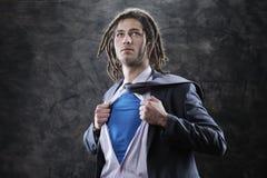 Superheroaffärsman Royaltyfria Bilder