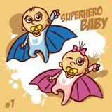 Superheroen behandla som ett barn pojkeflickan Clipart Arkivbild