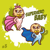 Superheroen behandla som ett barn pojkeflickan Clipart Arkivfoton