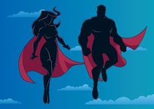 Superheroen kopplar ihop flyg i himmelkontur royaltyfri illustrationer