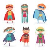 Superheroen lurar pojkar och flickor den främmande tecknad filmkatten flyr illustrationtakvektorn Royaltyfria Foton
