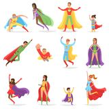 Superheroes in Bright Suits and Long CLoaks Set. Women and men with superpowers in heroic poses. Modern superheroes isolated vector illustrations vector illustration
