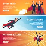 Superheroes business banners. Male characters business concept vector illustrations stock illustration
