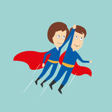 Superheroes business woman and businessman flying. Business woman and businessman in superhero costumes with red capes flying up holding hands, for super stock illustration