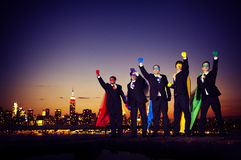 Superheroes Businessmen Pride Team Rescue Concept Royalty Free Stock Photos