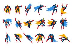 Superheroes characters set, man wearing colorful costumes on action vector Illustrations on a white background vector illustration