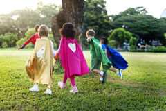 Superheroes Cheerful Kids Expressing Positivity Concept Stock Photography