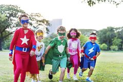Superheroes Cheerful Kids Expressing Positivity Concept Stock Images