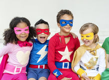 Superheroes Cheerful Kids Expressing Positivity Concept Royalty Free Stock Images