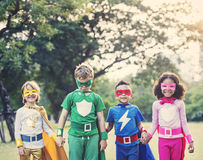 Superheroes Cheerful Kids Expressing Positivity Royalty Free Stock Images