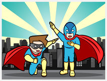 Superheroes in the city Royalty Free Stock Photo