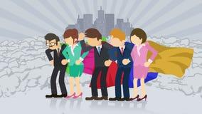 Superheroes die zich op stadsachtergrond bevinden Dichtbij een wolk van stof Commercieel teamsymbool Groepswerk en Voltooiingscon vector illustratie