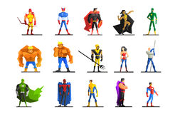 Superheroes in Different Poses and Costumes Vector Set Royalty Free Stock Photography