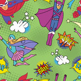 Superheroes in grappige stijl 2 Stock Foto