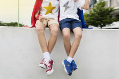 Superheroes Kids Boy Friend Buddy Concept. Superheroes Kids Boy Friend Buddy stock photography